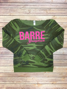 Barre Yo Camo off the shoulder sweatshirt