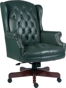 Traditional Green Leather Wingback Chair | Reclining Button Tufted Armchairs  sc 1 st  A2Z Office Equipment & Traditional Green Leather Wingback Chair | Reclining Button Tufted ...