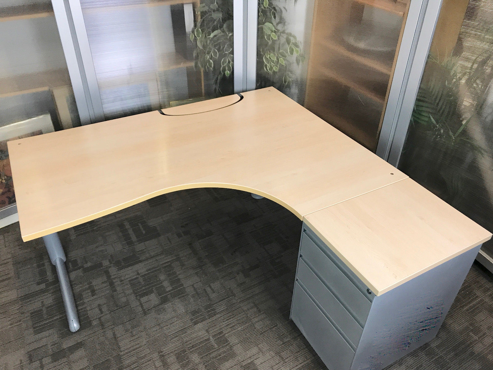 Steelcase L Shape Desk 1600 X 1200mm Radial Desks [Corner Office Workstation]  RH ...