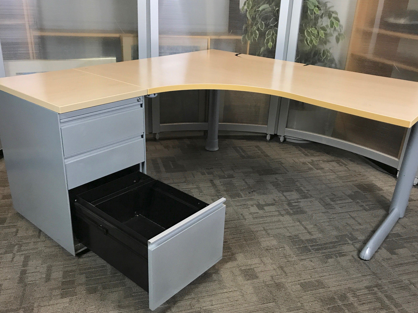 l desk office. Steelcase L-Shape Desk | Office Corner Desks High 3 Drawer Pedestal L S