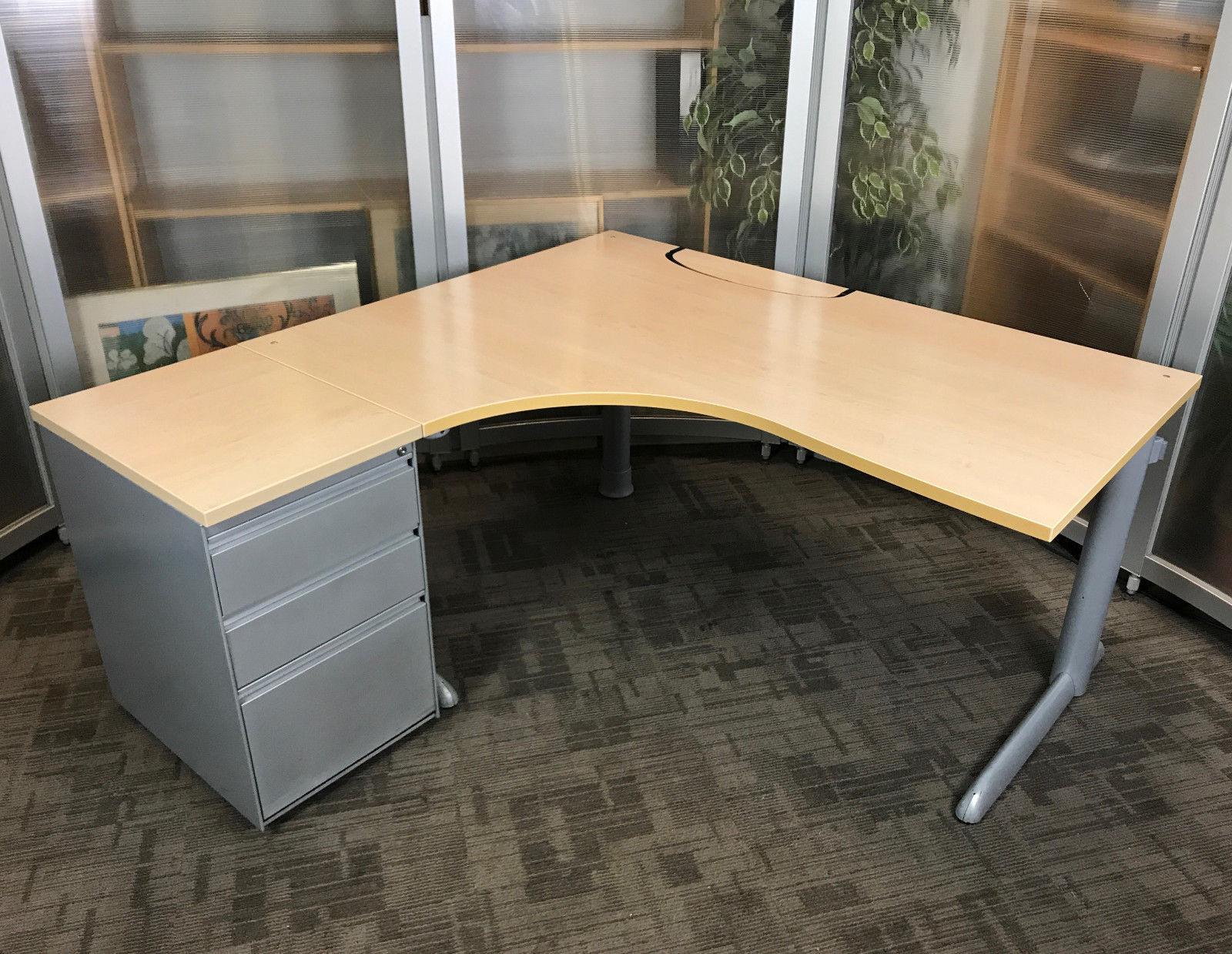 office corner desks. Steelcase L-Shape Desk | Office Corner Desks High 3 Drawer Pedestal L E
