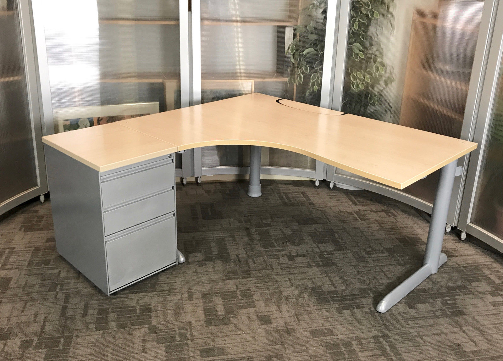 corner desk office. Steelcase L-Shape Desk | Office Corner Desks High 3 Drawer  Pedestal L Corner Desk Office