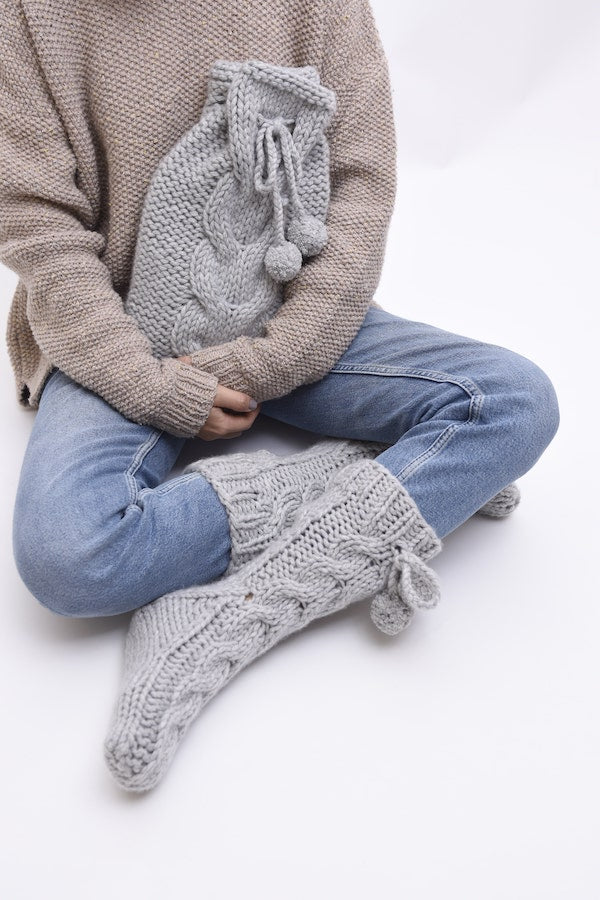 Cable Hot Water Bottle and Sock Set