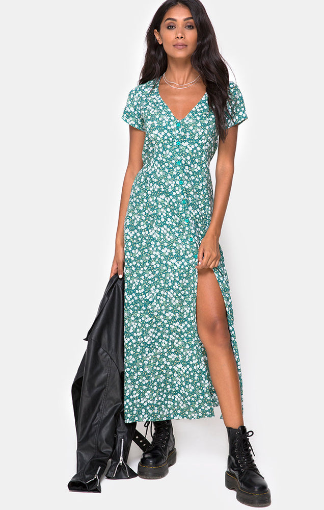 Motel | Sanrin Midi Dress Floral Green