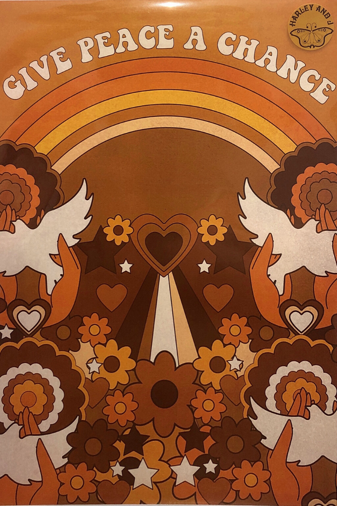 give peace a chance print by harley and j beach town ballina