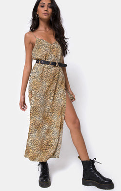 Motel | Hime Maxi Dress Tiger Brown