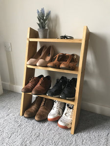 Solid wood shoe rack oak style storage ladder shelf shelves 70cm tall - IshBuild | Design that lasts