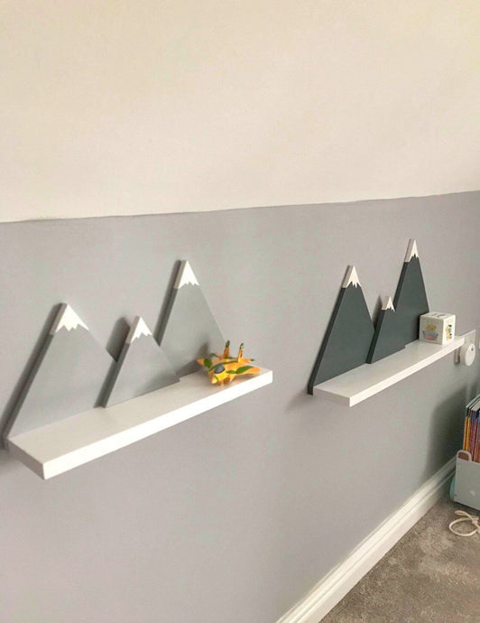 Grey / White Mountain Shelf Hand Made for Children's Rooms - IshBuild | Design that lasts