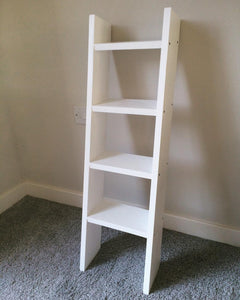 5 Shelf narrow ladder shelf in white for shoes, accessories hallway bedroom shelves - IshBuild | Design that lasts