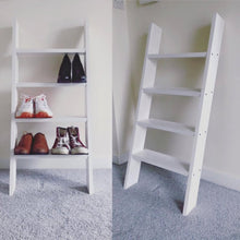 White Solid Wood Ladder Shoe Shelf Rack - IshBuild | Design that lasts