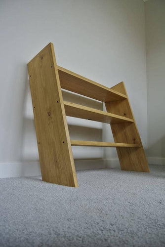 Solid wood oak style chunky ladder shelf for shoes or accessories - IshBuild | Design that lasts