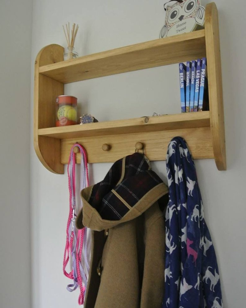 Oak Style Curved Coat Shelf with Knob Hooks - IshBuild | Design that lasts