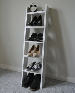 4 Shelf narrow ladder shelf in white for shoes, accessories hallway bedroom shelves - IshBuild | Design that lasts