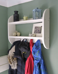 White Curved Coat Shelf with Knob Hooks - IshBuild | Design that lasts