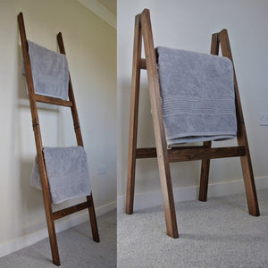 Solid Wood Oak Style Foldable Towel Rail / Clothes Dryer 4 Rails 1.8m rustic Tall Ladder Shelf - IshBuild | Design that lasts