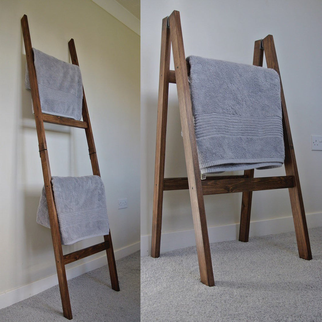 Rustic Brown Oak Style Folding Towel Rail / Clothes Dryer 4 Rails 1.8m rustic Tall Ladder Shelf - IshBuild | Design that lasts