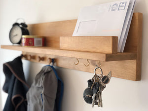 Oak Style Solid Wood Organiser Shelf With Hooks.