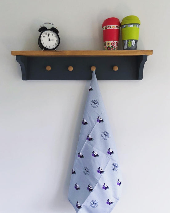 Dark Grey and Oak Stain Hook Shelf