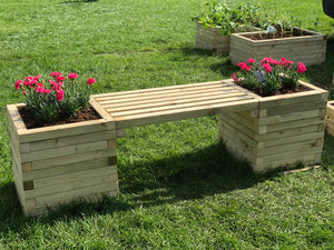 Solid treated wood block bench planter