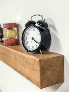 Solid wood oak style block floating shelf