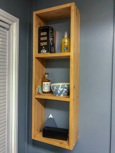 Solid wood oak style wall mounted shelf
