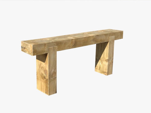 Solid wood railway sleeper bench