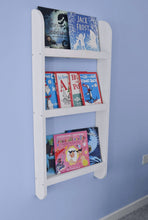 Wall mountable curved bookshelf white solid wood for books and accessories