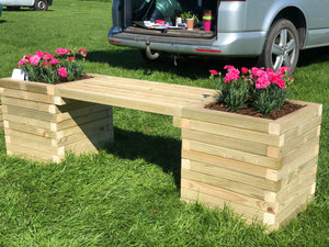 Solid wood block bench planter