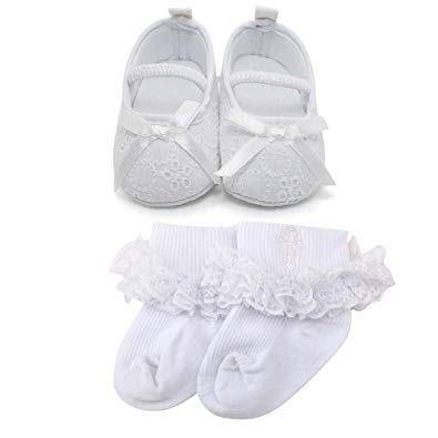 Baby Girl Infant Satin Mary Jane Baptism Shoes Dance Ballerina Slippers - Sour Patchy