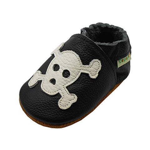 Baby Skull Soft Sole Leather Infant and Toddler Shoes - Sour Patchy
