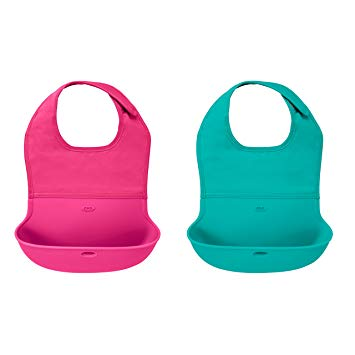 Tot 2-Piece Waterproof Silicone Roll Up Bib with Comfort-Fit Fabric Neck - Sour Patchy
