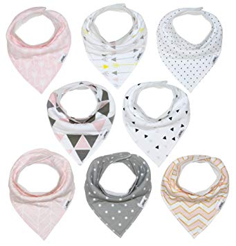 Baby Bandana Drool Bib Set of 8 for Girls - Sour Patchy