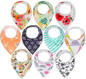 Baby Bandana Drool Bibs for Drooling and Teething-10-Pack - Sour Patchy