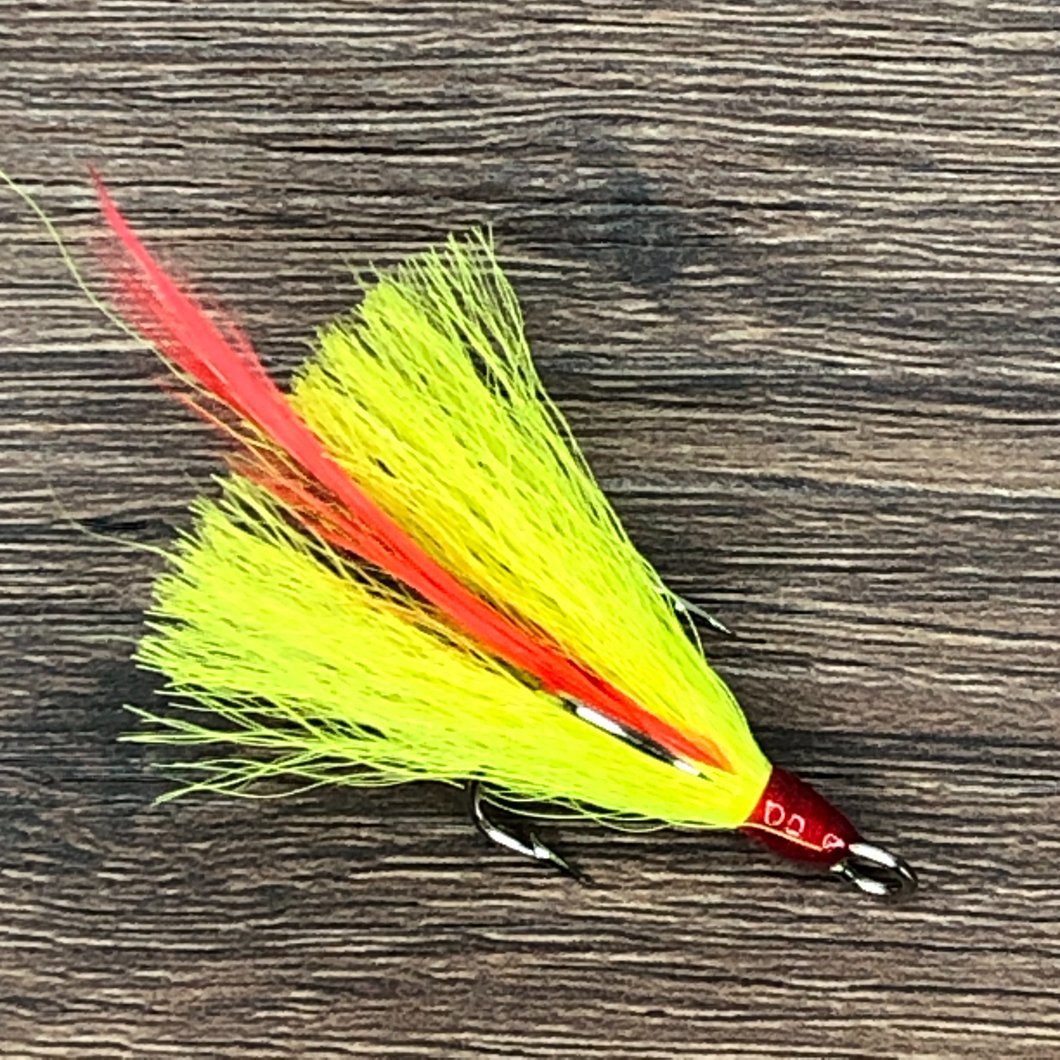 Chartreuse Red Feather Treble Hook Size 4 99 Cent Fishing Tackle