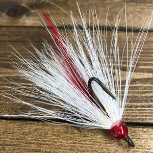 White Red Feather Bronze Dressed Treble Hook