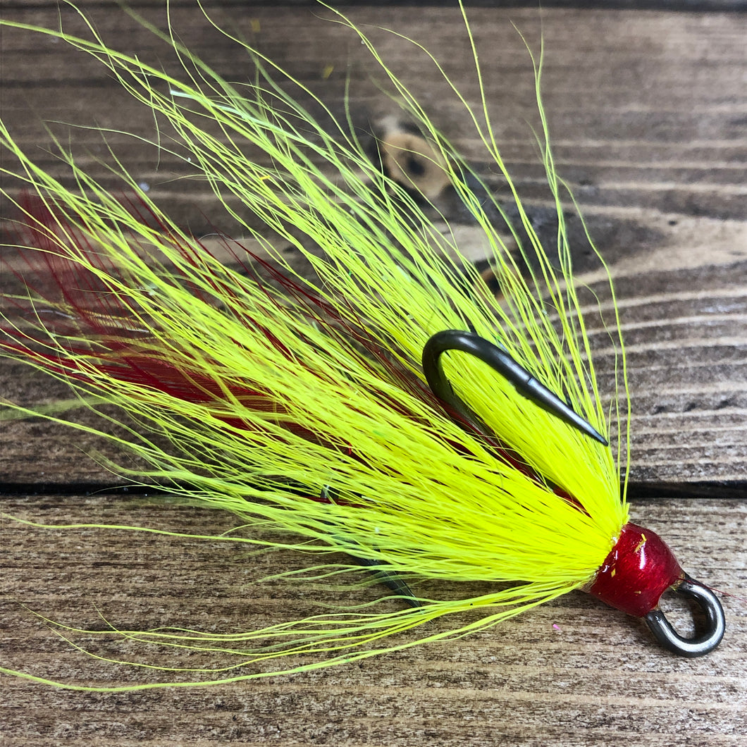 Chartreuse Red Feather Bronze Dressed Treble Hook