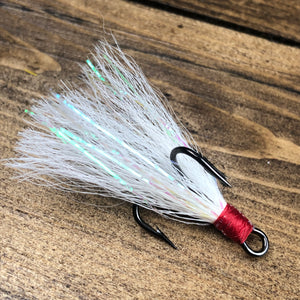 White Bucktail Holographic Flash Dressed Treble Hook