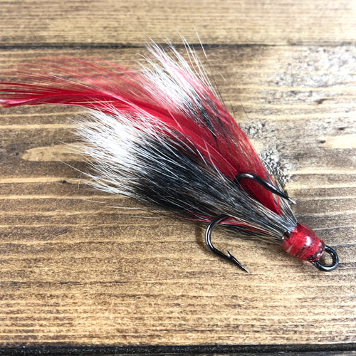Gray Squirrel Dressed Treble Hook Red Feather