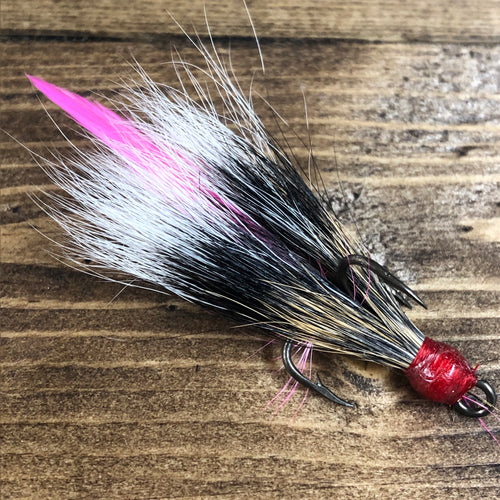Gray Squirrel Dressed Treble Hook Pink Feather