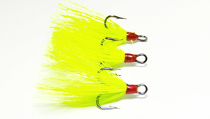 Chartreuse Dressed Replacement Treble Hooks (3 pack)