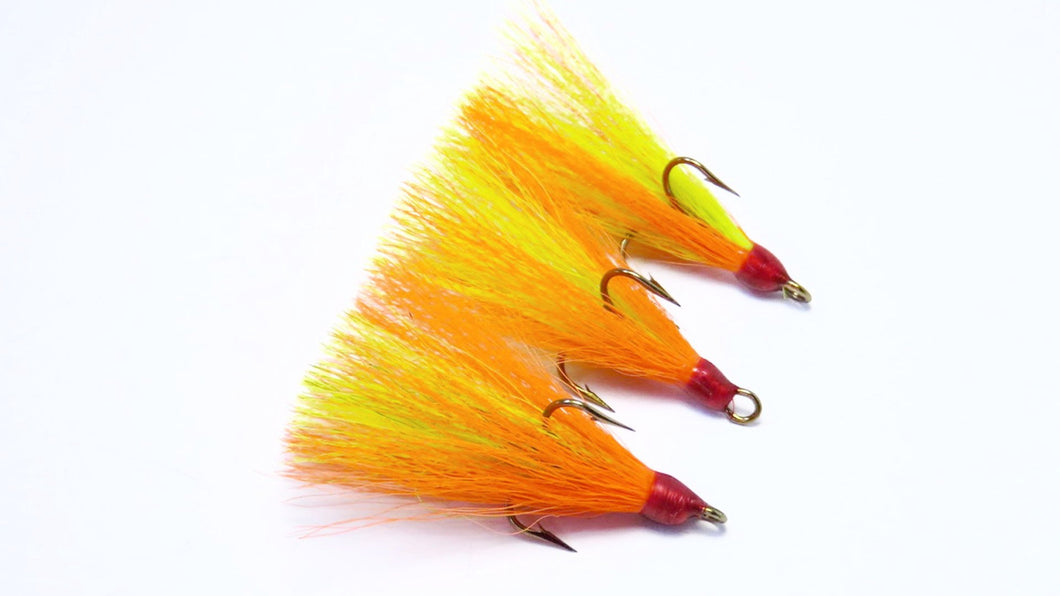 Fire Tiger Deer Hair Dressed Treble Hook ( 3 pack)