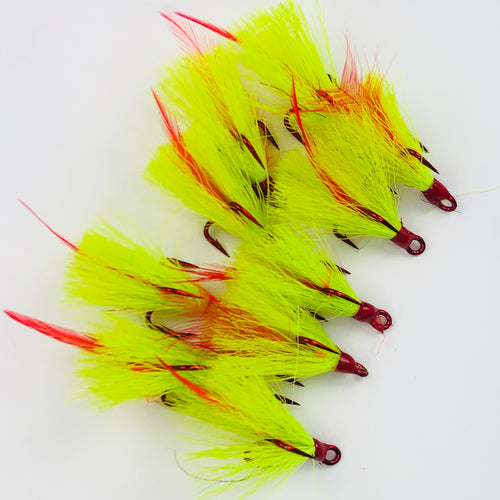 Chartreuse Red Feather Red Treble Hook Size 4 Fishing Tackle