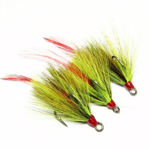 Olive Chartreuse Bucktail and Red Feather Dressed Replacement Treble Hooks (3 pack)
