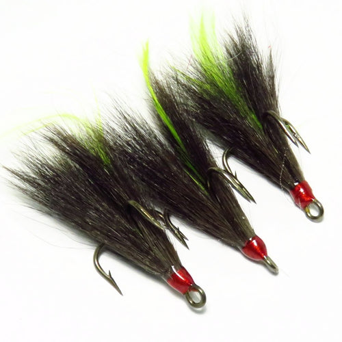 Black Squirrel Tail Chartreuse Feather Dressed Replacement Treble Hooks (3 pack)