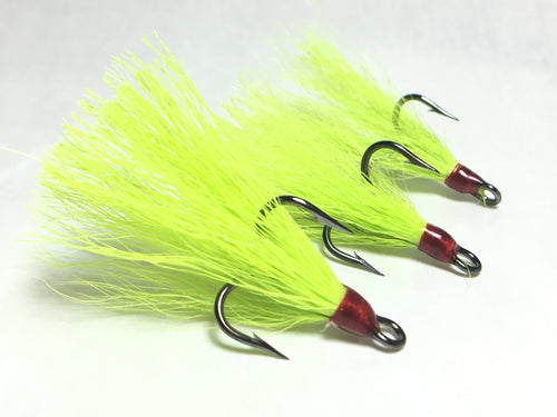 Chartreuse Dressed Freshwater Replacement Treble Hooks