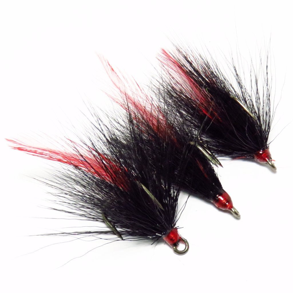 Black Bucktail and Red Feather Dressed Replacement Treble Hooks (3 pack)