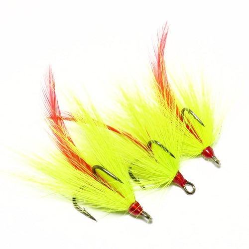 Chartreuse Bucktail and Red Feather Dressed Replacement Treble Hooks (3 pack)