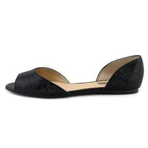 INC International Concepts Womens Elsah2 Fabric Open Toe Slide, Black, Size 7.5