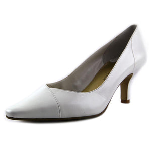 Bella Vita Womens Wow Leather Pointed Toe Classic Fashionable Stylish Heel Shoes White Kidskin Size 10.0