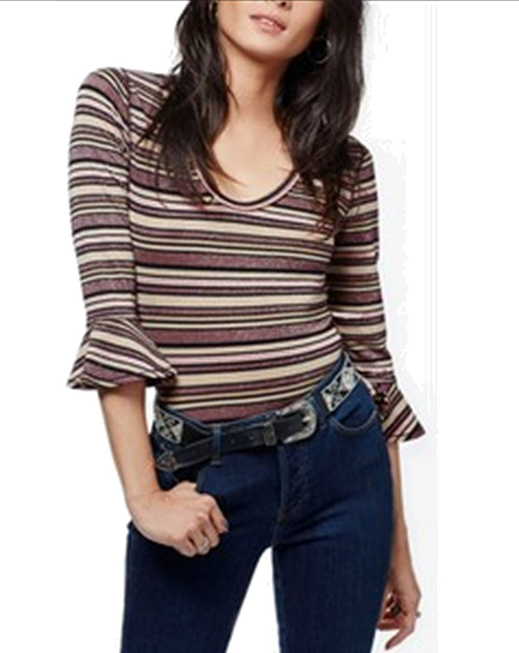 Free People Surprise Party Striped Top Purple L